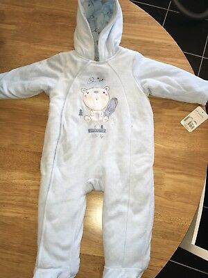 Mothercare 6-9 Months Light Blue All In One Winter Suit