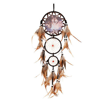 Indian Style Wolf Head Dream Catcher Feathers 3 Ring Wall Hanging Deco