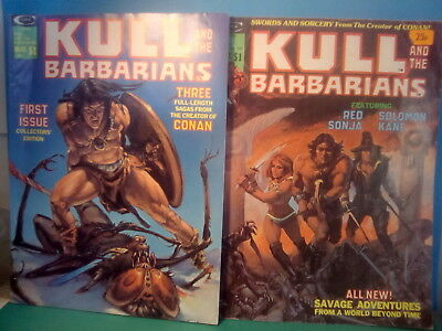 KULL AND THE BARBARIANS , NO's 1&3 , 1975 CURTIS B/W FANTASY .*U.K.ONLY