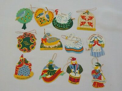 avon 12 days of christmas ornaments metal painted no boxes compete set