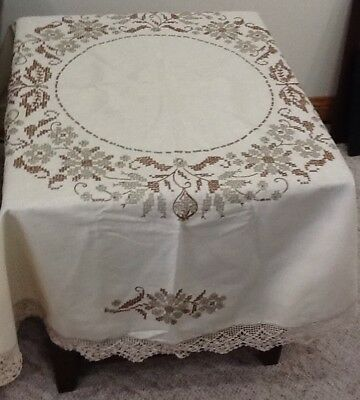 Vintage hand embroidered and crocheted round tablecloth 64 inches across