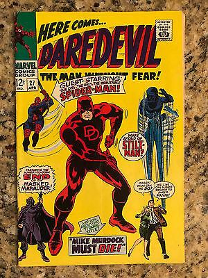 Daredevil #27 Fn- 5.5 / Spider-Man Appearance / White Pages / Marvel Comic