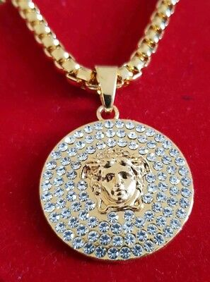 c9269aa09046b 3D GOLD FILLED Medusa Face Medallion Pendant Chain 8mm 30 Hip Hop Bling  Necklace