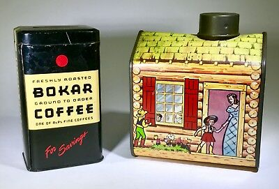 Vintage Litho Tin 1950S Lot Towles Log Cabin Syrup Bokar Coffee Bank Advertising