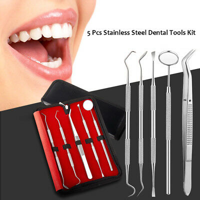 dental tool Scaler Pick Stainless Steel Tools with Inspection Mirror Set 5 PCS