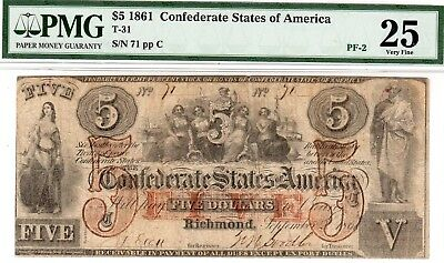 T-31 PF-2 $5 Confederate Paper Money 1861 - PMG Very Fine 25 - low serial #71!