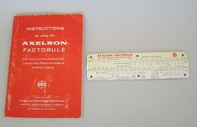 Axelson Factorule slide rule and booklet for oil well calculations