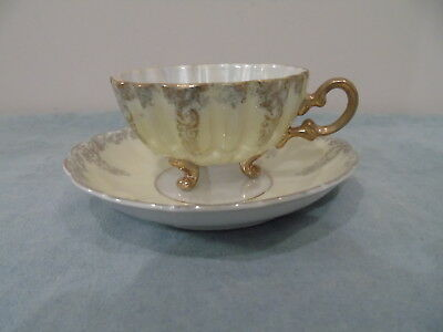 Shafford Japan Pale Mint Luster Teacup Saucer 3 Footed Scalloped Gold Filigree.