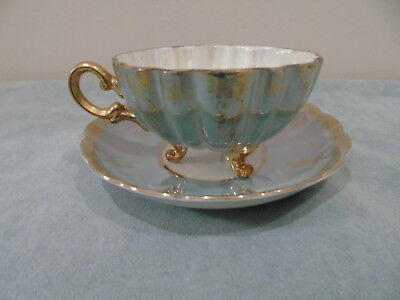 Shafford Japan Pale Teal Luster Teacup Saucer 3 Footed Scalloped Gold Filigree