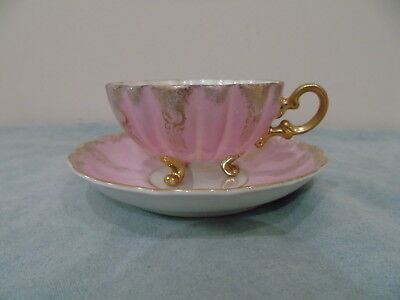 Shafford Japan Pink Luster Teacup Saucer 3 Footed Scalloped Gold Filigree