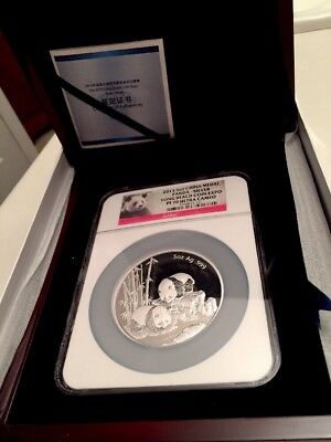 2013 CHINA MEDAL 5 oz .999 SILVER PANDA NGC PF 70 UC LONG BEACH COIN EXPO