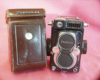 Yashica Y44 LM, Dark Gray Paint, Light Grey Leather, Cap, Case, Attractive
