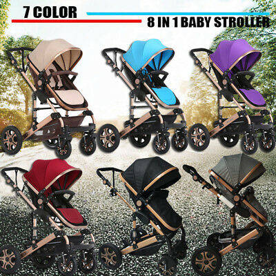 9 in1 Baby Stroller High View Bassinet Combo Foldable Pushchair Newborn Carriage