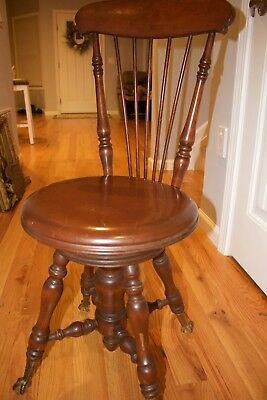 Antique Piano Stool Glass Claw Feet