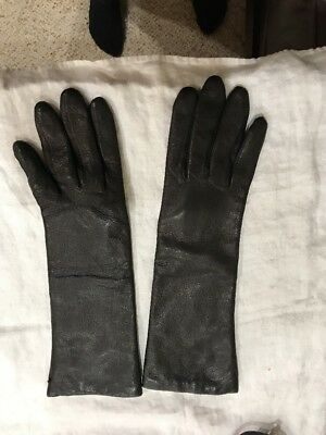 Vintage Opera Length7.5 Black Leather Gloves Lined Made in Italy