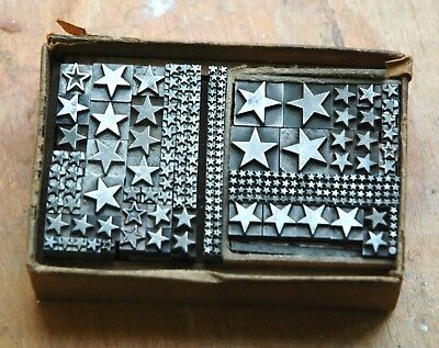 """Large Collection Lot of Letterpress Lead Type """"Stars"""" of Various Sizes"""