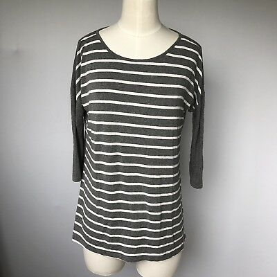 A Pea In The Pod Maternity Gray Striped Sweater 3/4 Sleeves Small