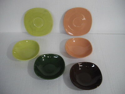 4 Berry Bowls + 2 Saucers W.s. George Square Coupe Ge352 Mid Century Mod Pottery