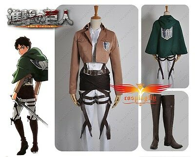 Attack on Titan Scouting Legion Levi Levil Cosplay Costume Cape With Shoes Full