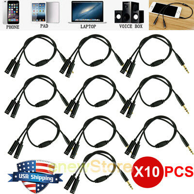 Lot 1 Male to 2 Female Gold Plated 3.5mm Audio Y Splitter Headphone Cable Black