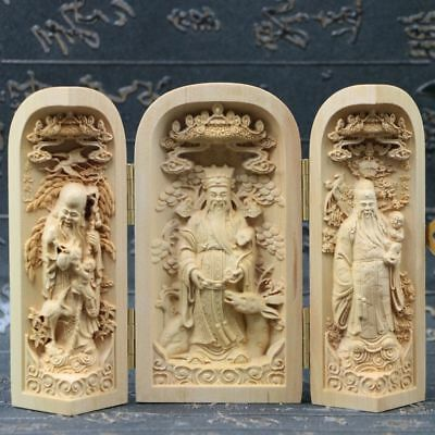 Chinese Boxwood Handmade Carved Three God Of Lucky&Longevity&Prosperity Open Box