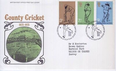 GB Stamps First Day Cover 100 Years of County Cricket, Lords SHS Cricketer 1973