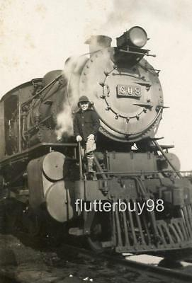 Y243 Vtg Photo BOY JOY WITH STEAM ENGINE 608 TRAIN TRACKS c Early 1900's