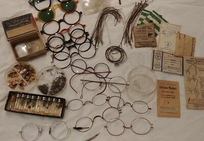 Antique Optometry Eyeglasses 300+ Parts Repair Lot Gold Filled All One Money