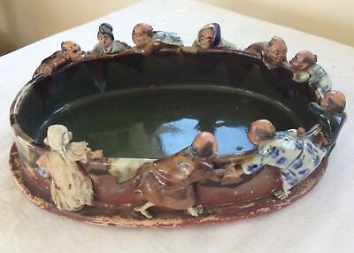 Charming Antique Japanese Figural Studio Dish Signed