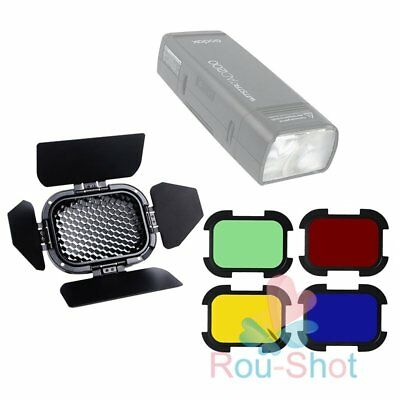 Godox BD-07 Barn Door with Honeycomb Grid + 4 PCS Color Filters For AD200【AU】