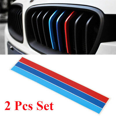 2 Pcs M Tech Color Front Grill Grille Badge Sticker Emblems Decal For All Series