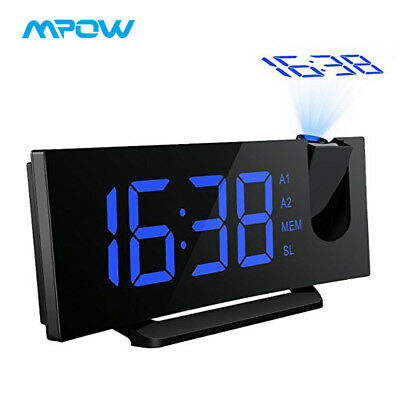 MPOW Projection Clock Snooze DUAL Alarm 5'' Inch LED Backlight Wall Projector FM