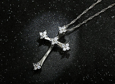 Platinum Plated Silver Filled Solid Vintage Cross Pendant Necklace With Crystal