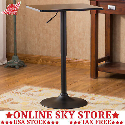 ADJUSTABLE SWIVEL SQUARE Pub Table Bar Counter Height Cafe Bistro - High top pedestal table