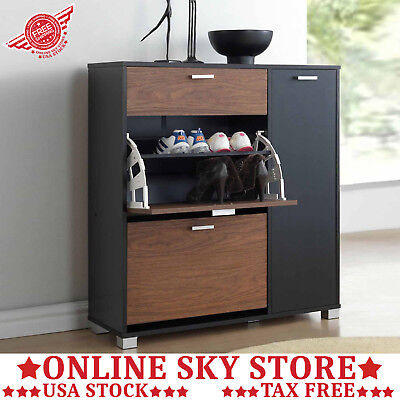 Shoe Storage Cabinet Entryway Fold Out Tray Horizontal Sneakers Boots Heels Rack
