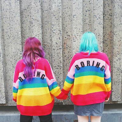 """Womens Lazy Oaf Inspired Rainbow color Sweater """"BORING"""" Cardigan Soft Jumper"""