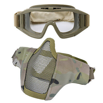 2Pcs Outdoor Airsoft Face Mask Steel Mesh Tactical Mask Protective Goggles Set