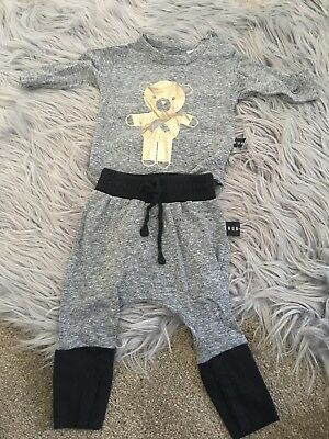 Hux Baby Boy Set Pants One Piece Size 0-3months Grey Gold Black