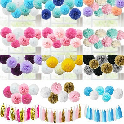 9PCS Mixed Tissue Paper Pompoms Pom Poms Hanging Garland Wedding Birthday Party