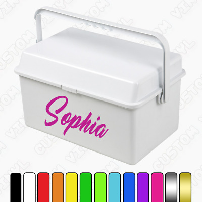 Baby changing box name sticker, personalised box name vinyl decal, various fonts