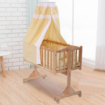 Baby Crib Infant Toddler Bed Cot Nursery Furniture Mattress Cradle Safety Yellow