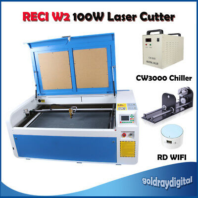 RECI 100W Co2 Laser Engraving Cutting Machine Engraver & RD-WIFI & Linear Guides