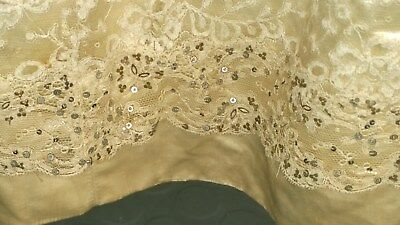Antique Edwardian Cream Silk Satin Skirt with Sequin Lace, very small size