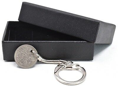 1920 - 1967 Sixpence Keyring Birthday Gift Lucky Choose Your Date Gift Boxed