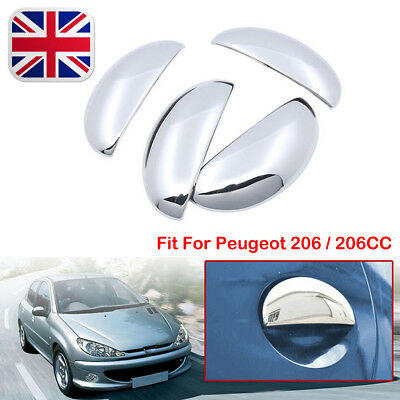 Set Chrome Door Handle Covers Trim Left Right Fit For Peugeot 206 / 206CC NEW