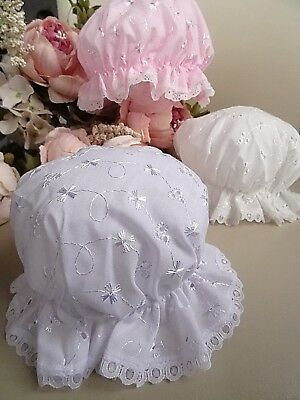Baby White Cream Pink Broderie Anglaise Lace Trim Christening Mop Hat Bonnet 0-3