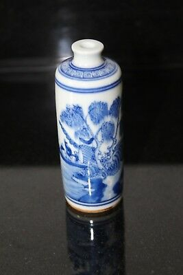 Chinese Blue & White Cylindrical Snuff Bottle