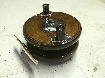 Antique Vintage Old Wooden Brass Fishing Reel spool retro Hand Tool Wood