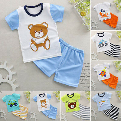 HOLIDAY Baby Toddler Kids Boys Girls Summer Cotton Outfits Top+ Short Pants SETS