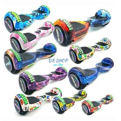 Hoverboard 8 Pollici Luci Led Bluetooth Monopattino Elettrico Scooter Overboard